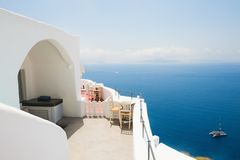White architecture on Santorini island, Greece. Beautiful terrace with sea view Stock Images