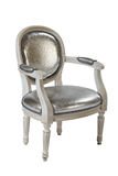 White armchair. Studio shooting of an ancient armchair with a silvery upholstery isolated on white with clipping patch Stock Photos