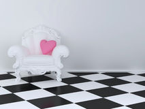 White armchair. In a room with a pink pillow Stock Image