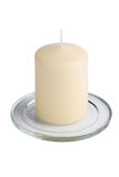 White aromatic vanilla candle isolated royalty free stock image