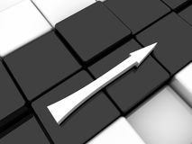 White arrow. Surface consisting of 3d black and white squares Royalty Free Stock Photo