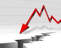 WHITE ARROW DOWN. Business arrow graphic moving down. world crisis Stock Photos