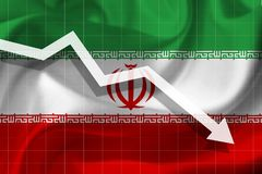 White arrow falls against the background of the flag of the Iran royalty free illustration