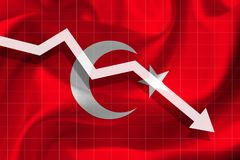 Arrow falls against the background of the flag of the Turk royalty free illustration
