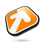 White Arrow On Orange Button Stock Photo