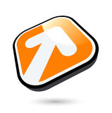 White arrow on orange button Stock Photo