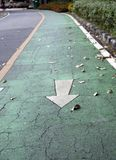 The white arrow painting on the green bike lane. it is a division of a road marked off with painted lines. The white arrow painting on the green bike lane. it stock photography