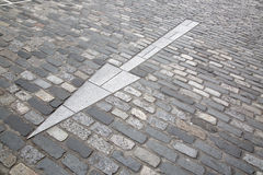 White Arrow Sign, Cobbled Stone Street, St Andrews, Fife, Scotla Stock Images