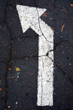 White arrow on traffic surface Royalty Free Stock Images
