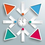 4 White Arrows Cross Clock Centre Colored Triangles PiAd. Infographic design with clock and arrows on the gray background Stock Photos