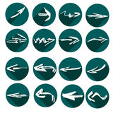 White arrows in grunge style. Green flat icons. Stock Photo