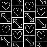 White arrows and hearts seamless pattern. Seamless pattern with white arrows and hearts in squares Stock Photos