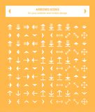 White arrows icons vector image. This pack contains 100 white icons uniqe and modern of Directions Arrows that you can use in your designs.nn-100% .nn-Easy to stock illustration
