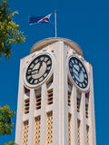 White art deco clock tower Royalty Free Stock Images