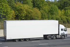 White articulated lorry and trailer Royalty Free Stock Photo