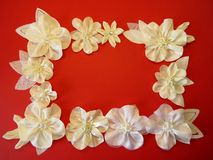 White artificial fabric flowers Royalty Free Stock Photography