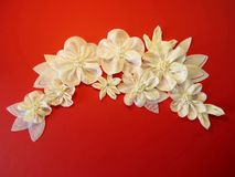 White artificial fabric flowers Stock Photo