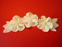 White artificial fabric flowers Stock Photos
