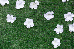 White artificial flower. White artificial flower on green artificial turf for wedding party decotation Royalty Free Stock Photo