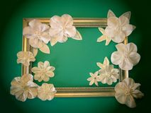White artificial flowers and frame Stock Photo