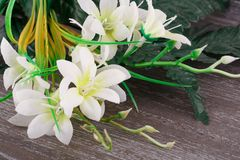 White artificial flowers stock image