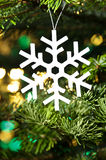 White artificial snowflake Royalty Free Stock Photo