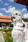 The white asian lion statue Stock Photos