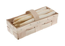 White asparagus in a basket Stock Photography
