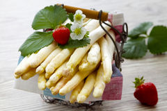 White asparagus in a Basket Stock Images