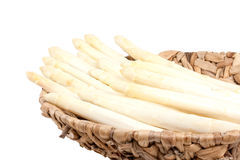 White asparagus in bowl. Asparagus in bowl, isolated on white background Stock Photos