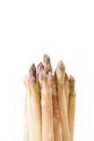 White asparagus bundle closeup, on white. Background with copy-space Royalty Free Stock Photos