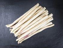 White Asparagus (close-up shot) on slate Stock Image