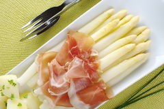 White Asparagus with Ham Stock Images