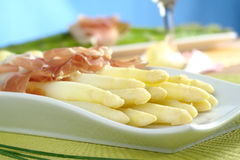 White Asparagus with Ham royalty free stock photography