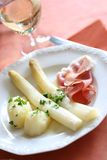White asparagus meal Royalty Free Stock Image