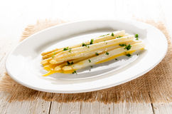 White asparagus with melted butter and chopped parsley Royalty Free Stock Photography