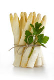 White asparagus with parsley Stock Images