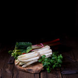 White asparagus and rhubarb Stock Photo