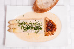 White asparagus with roasted chicken Royalty Free Stock Photo