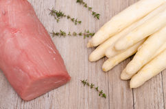 White asparagus and veal Royalty Free Stock Images