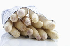 White asparagus wrapped in cloth on white background Stock Photos