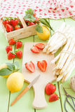 White aspargus and fresh strawberries Royalty Free Stock Image