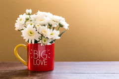 White aster flowers in red coffee mug with BIG LOVE letters on wooden table. Stock Photos