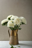 White asters in rustic pitcher royalty free stock images