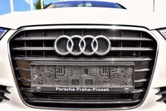 White Audi A6. PRAGUE, THE CZECH REPUBLIC, 02.08.2015 - Brand new white Audi A6 parks in front of Car Store Audi Royalty Free Stock Photo