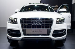 White audi Q5 on car show royalty free stock image