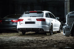 White Audi RS6 tuning Stock Images