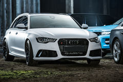 White Audi RS6 tuning Royalty Free Stock Image