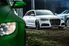 White Audi RS6 tuning Royalty Free Stock Photo