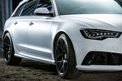 White Audi RS6 tuning Stock Photo